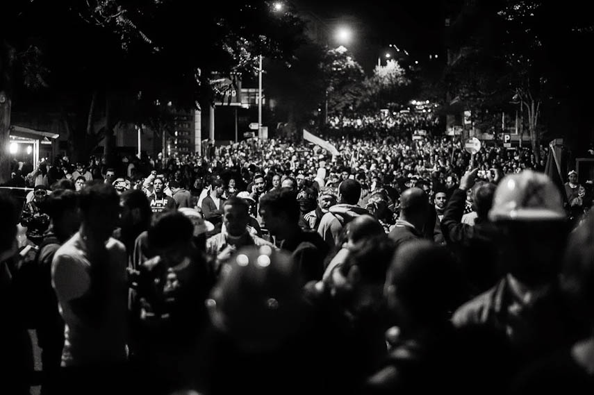 Protesters unfold in the streets of Ankara at night. 11/06/2013