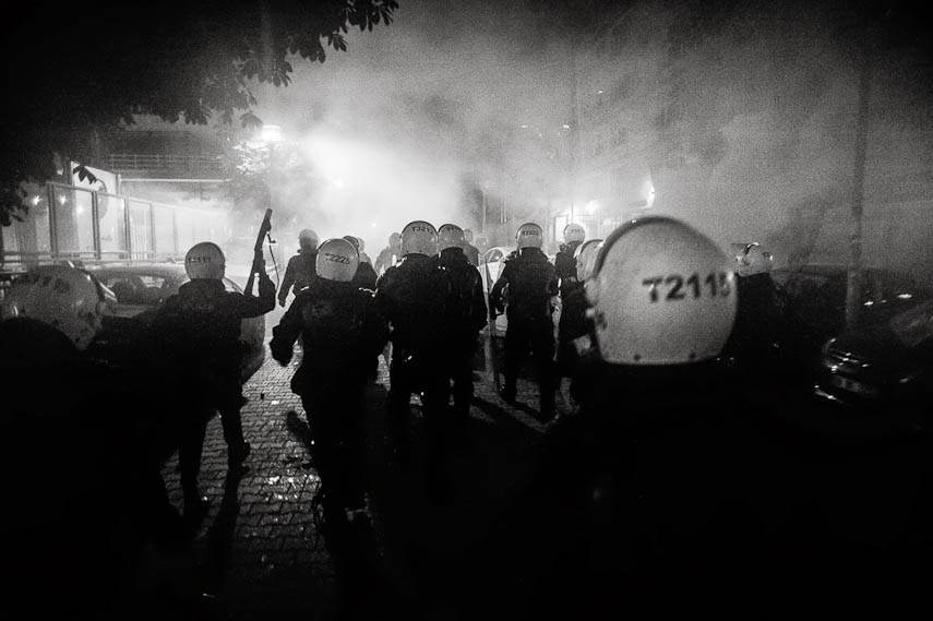Riot Police fires tear gas canisters aiming at the protesters, Ankara, 11/06/2013