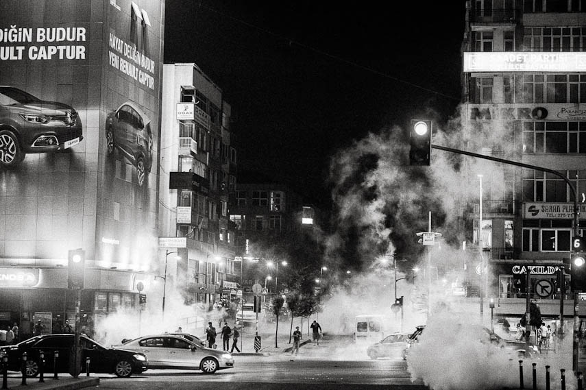 Thick clouds of tear gas in the streets of Istanbul, 16/06/2013