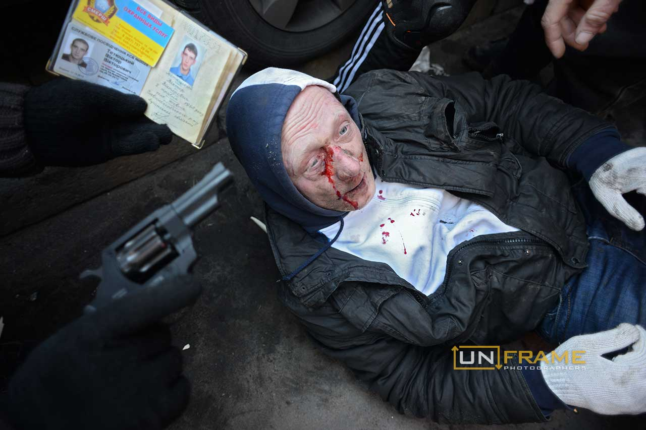 A protester has just been shot. Death and injury toll raise every hour on the hour in Maidan square since the violent repression started. Kiev, Ukraine