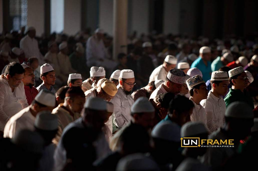 Bangladeshi Muslims offer prayers marking the festival of Eid al-Adha at the Baitul Mukarram National mosque in Dhaka, Bangladesh. Oct. 6, 2014  Photo by Suvra Kanti Das / UnFrame
