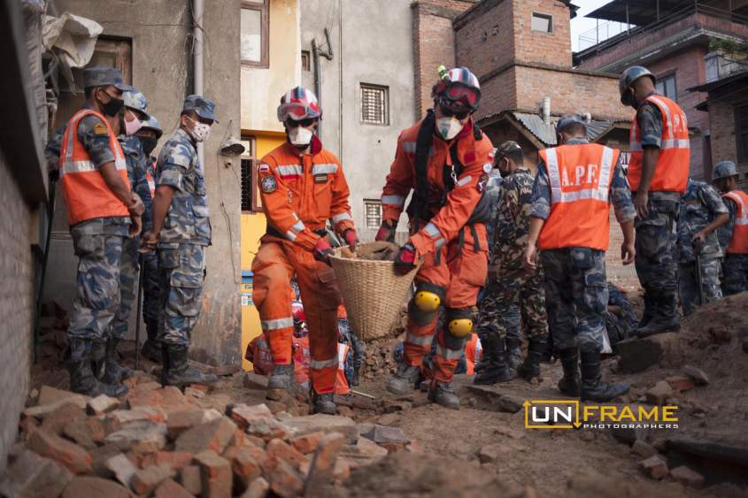 Rescue teams in Kathmandu after the earthquake